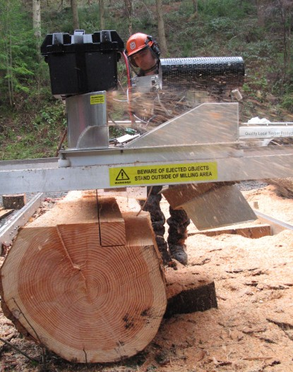 The sawmill can cut a range of different dimensions