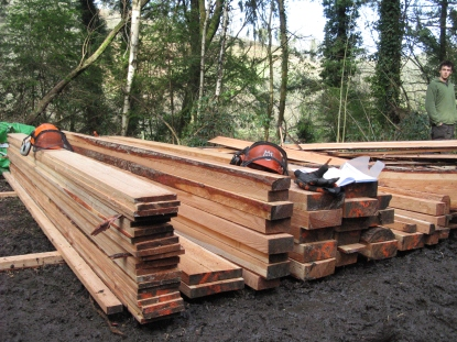 stack of milled larch