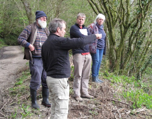 Brian, Albert, Dave and Sandy discuss the management plan at Hisley Wood