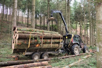 Martin's tractor and trailer extracting timber