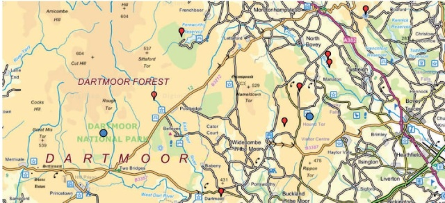 p12 Sites for Bryoria across Dartmoor